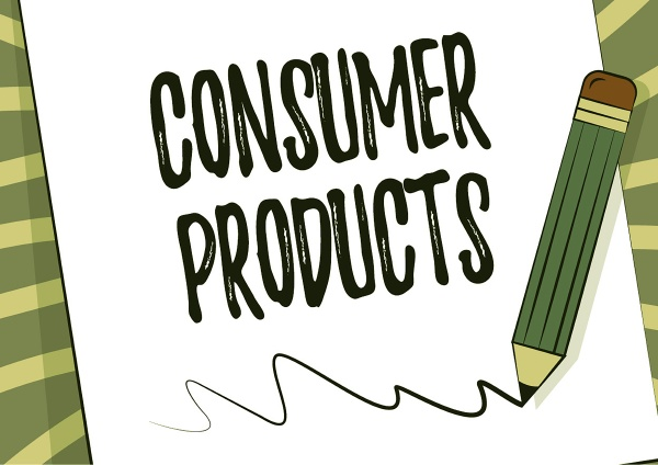 sign displaying consumer products business