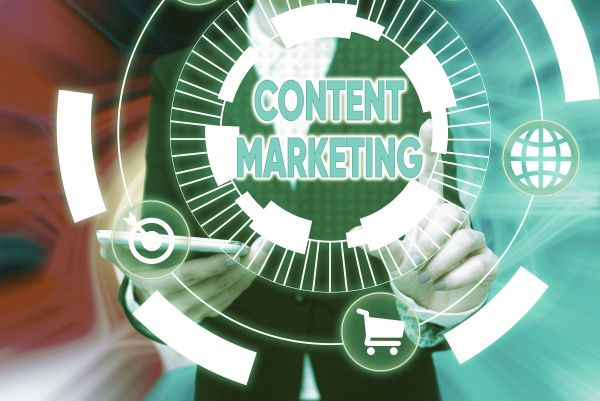 sign displaying content marketing business