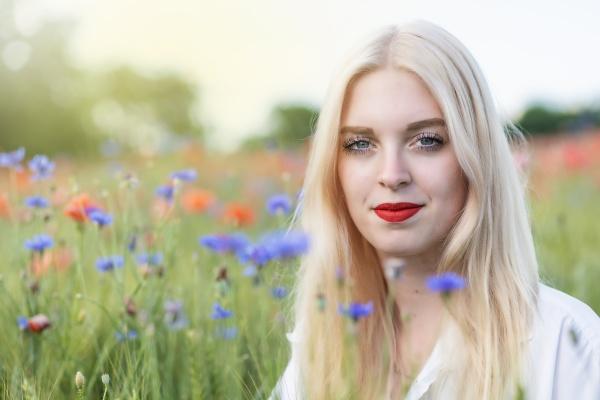 portrait of attractive blonde woman posing