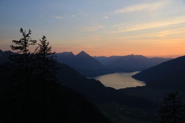 sunset scene in the swiss alps