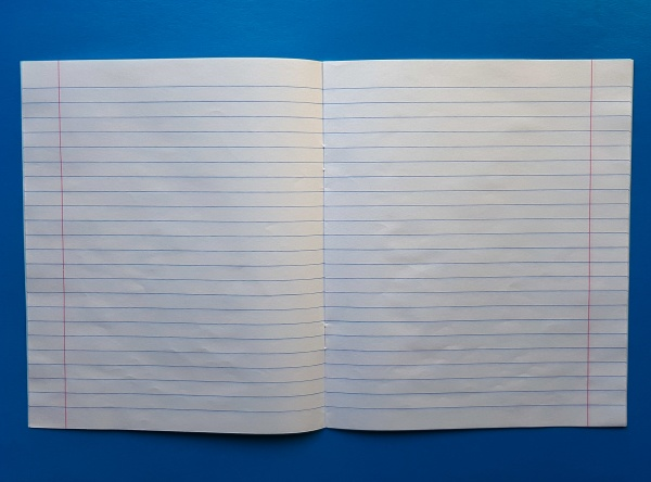 open notebook on a white lining