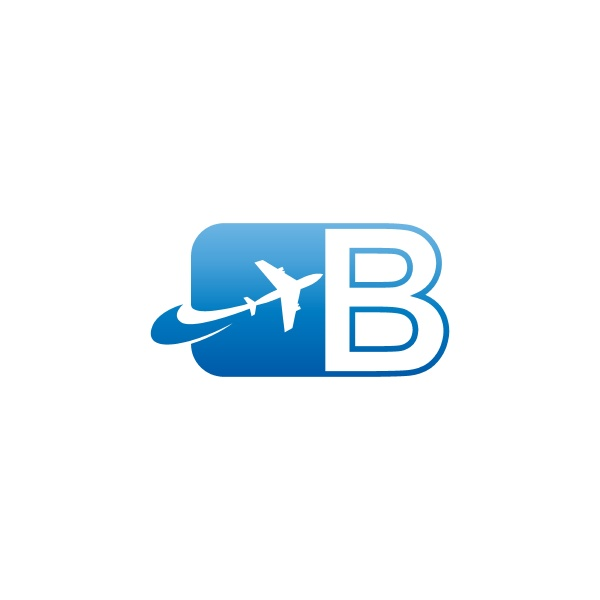letter b with plane logo icon