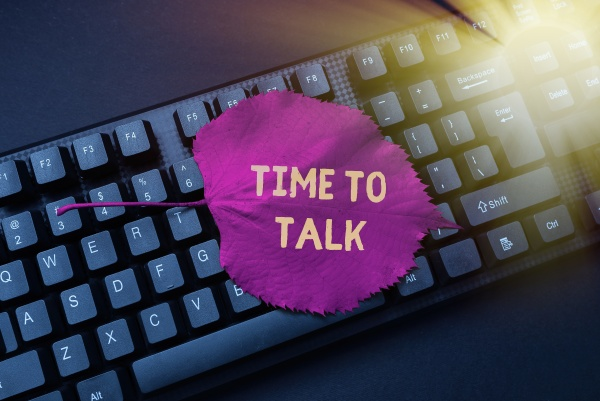 handwriting text time to talk concept