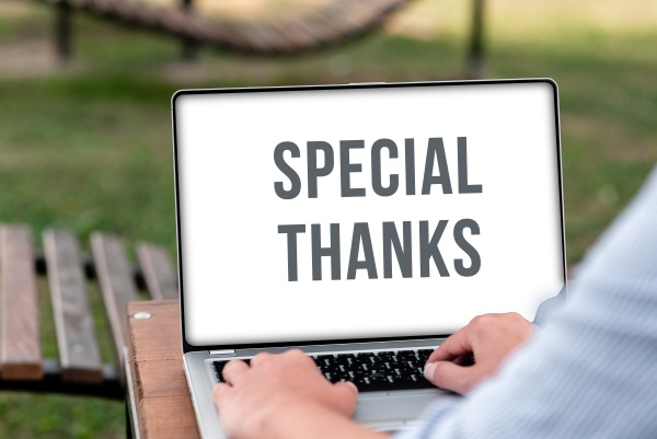 hand writing sign special thanks conceptual