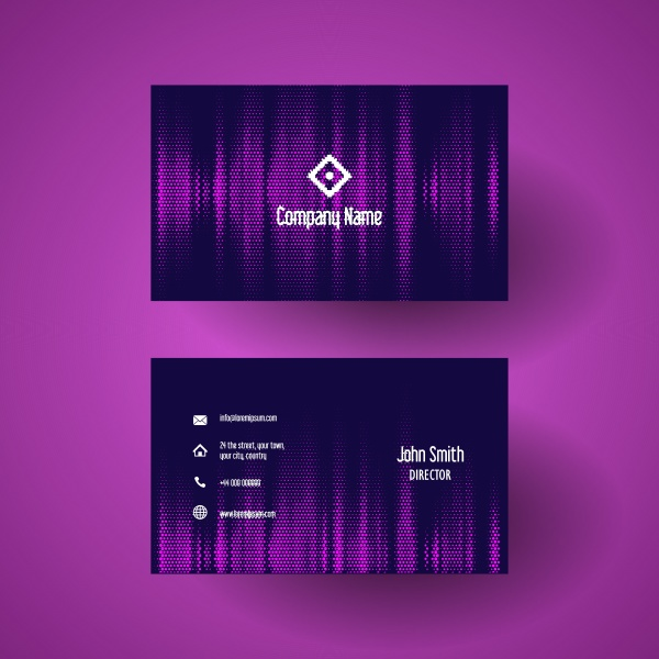 business card template with a pink