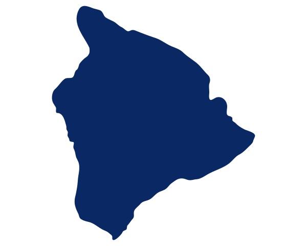 karte von hawaii insel in blauer