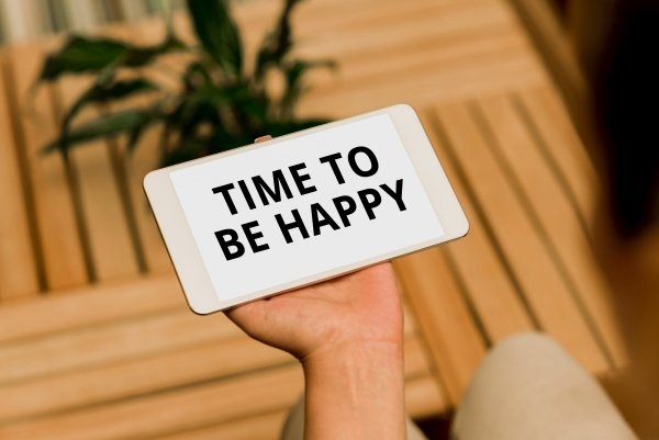 handwriting text time to be happy