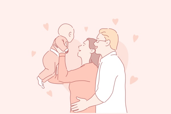 happy parenthood young family