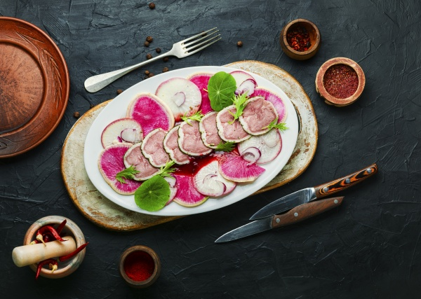 salad with meat tongue and radish