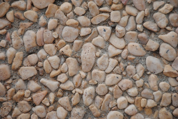 the pebble stone floors and wall
