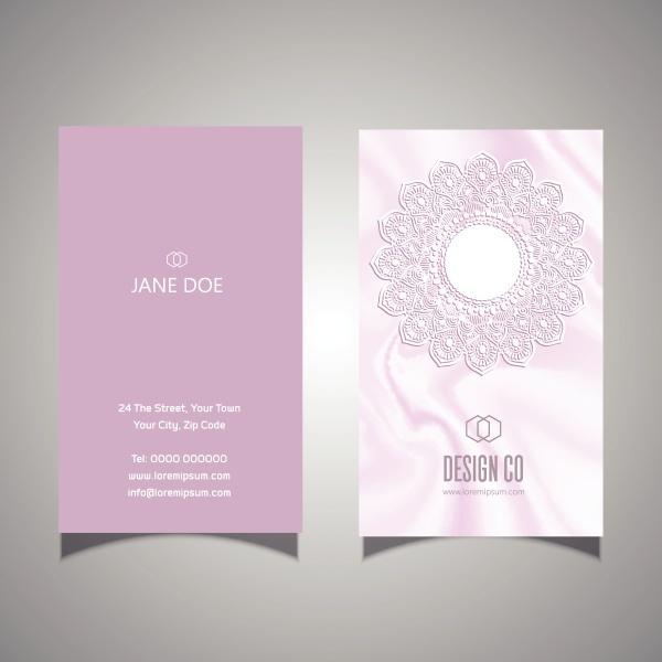 elegant pink lace design business card