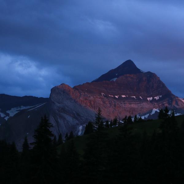 red lit peak of mount oldehore