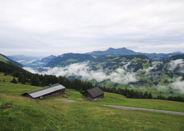 saanenland valley on a rainy summer