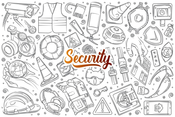 hand drawn security related equipment