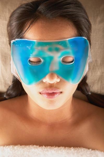 woman with eye mask
