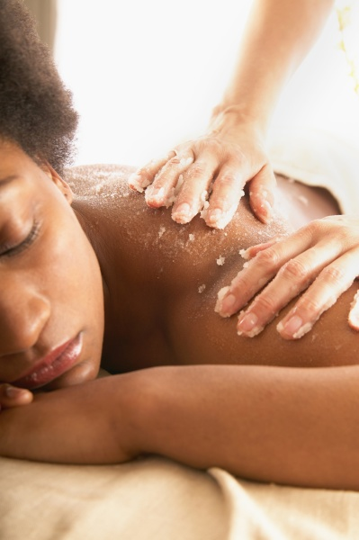 close up of woman receiving spa