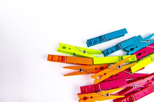 colored, clothespins, on, a, white, background - 30613073