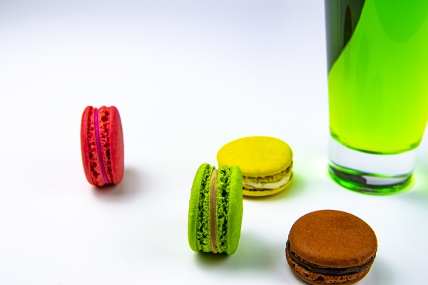 round color cookies and juice in