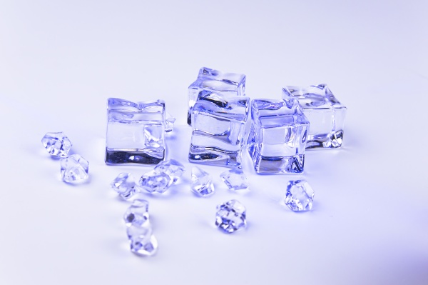 ice cubes on a gray background