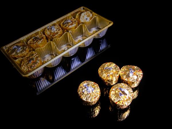 round chocolate candies in a golden