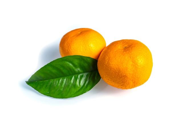 orange tangerine with green leaves on