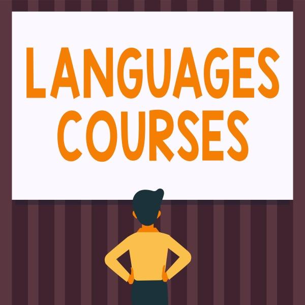 text caption presenting languages courses concept