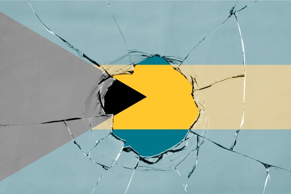 3d flag of bahamas on glass