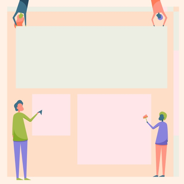 four colleagues drawing standing holding different