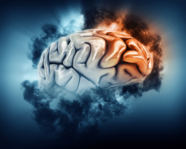 3d brain with storm clouds and