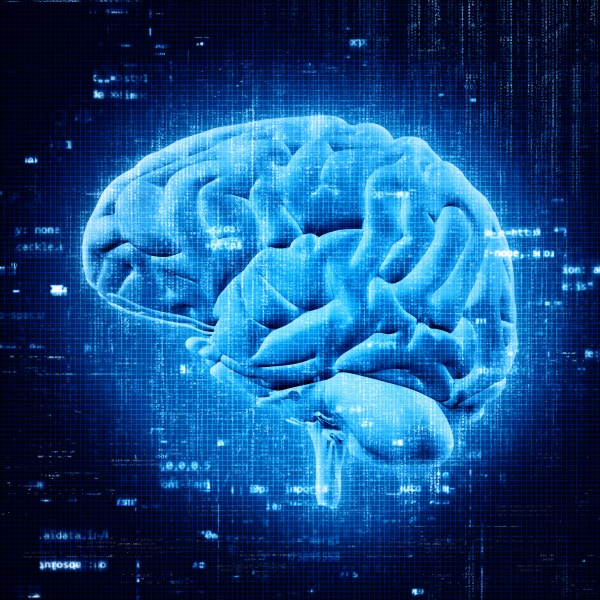 3d brain with abstract programming code
