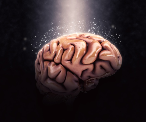 3d human brain on dramatic background