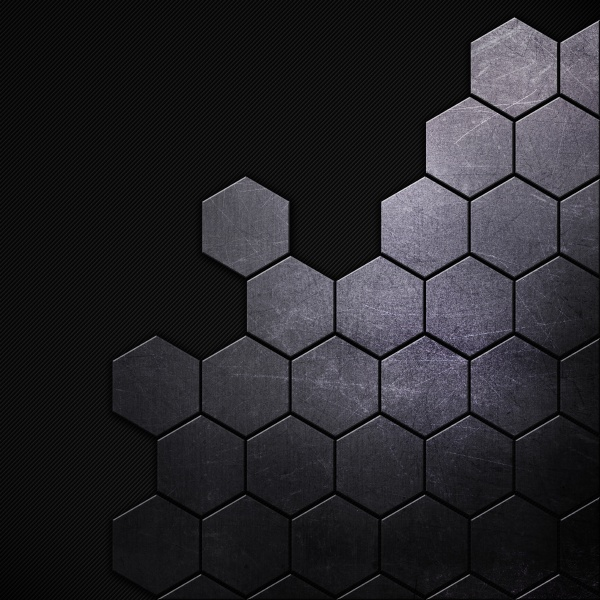 scratched grunge metal background with hexagonal