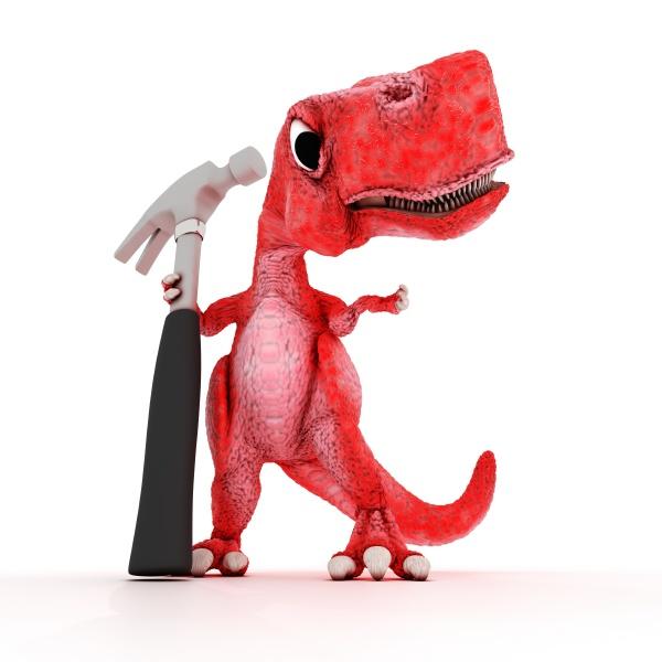 friendly cartoon dinosaur with hammer