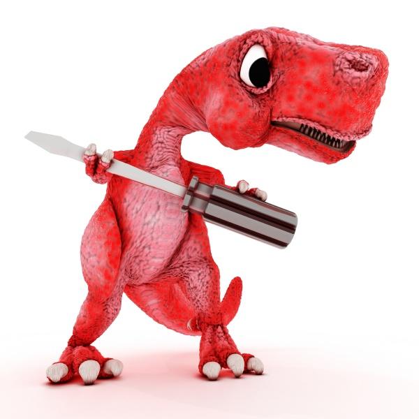 friendly cartoon dinosaur with screwdriver