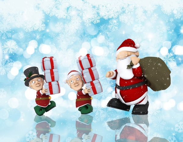 christmas background with santa and his