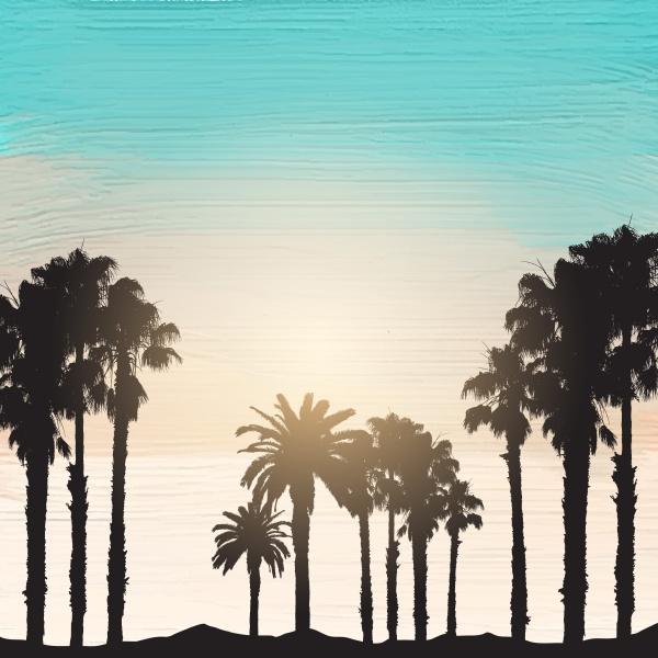 palm trees on an acrylic paint