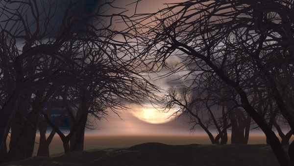 3d spooky landscape with trees