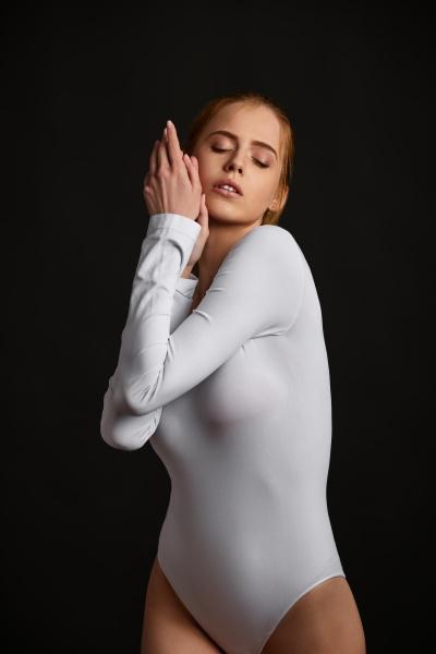 portrait of beautiful slim blonde woman