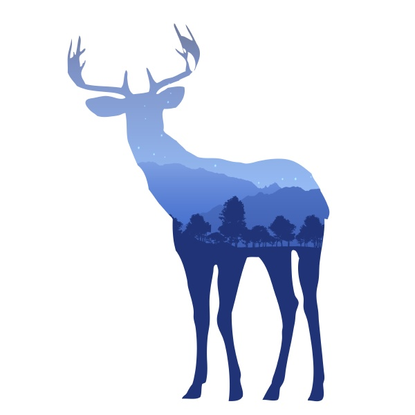 deer silhouette with double exposure effect