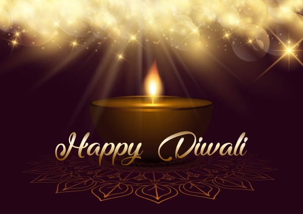 diwali background with bokeh lights and