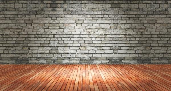 3d grunge interior with brick wall