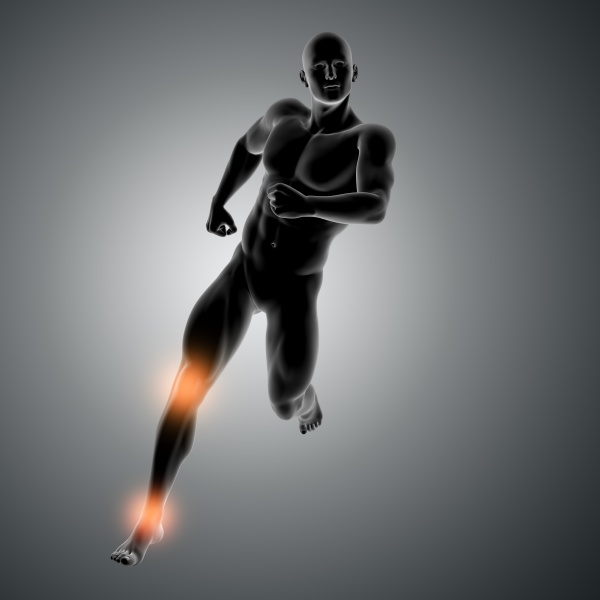 3d male figure running with knee