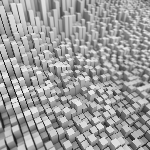 3d abstract bacground of extruding cubes