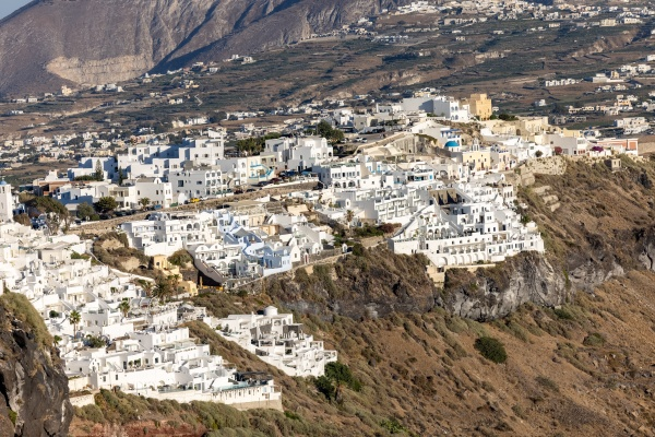 the whitewashed town of fira on