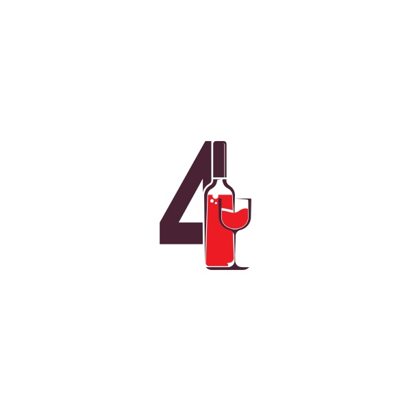 number 4 with wine bottle icon