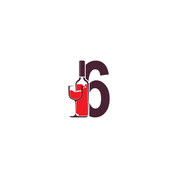 number 6 with wine bottle icon