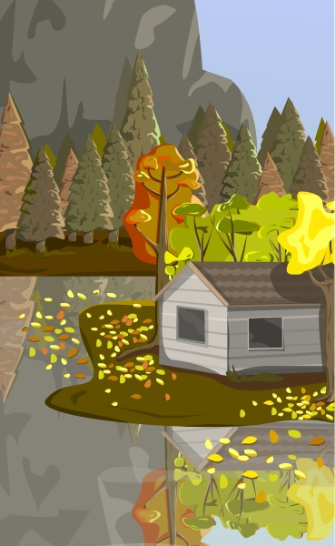 realistic autumn forest house by the