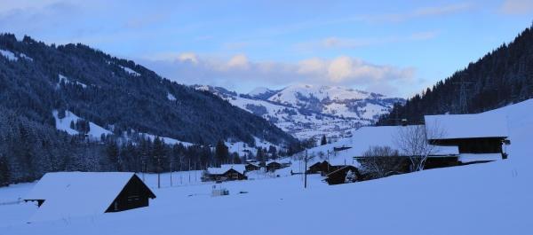 saanenland valley on a winter evening