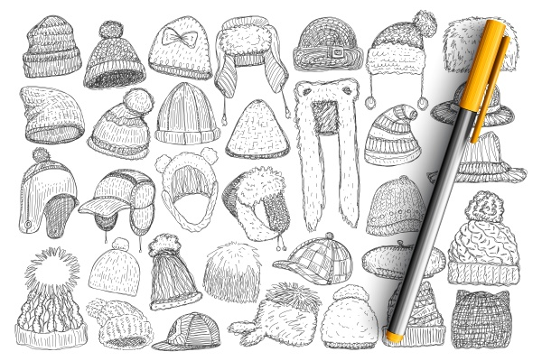 various winter caps and hats doodle