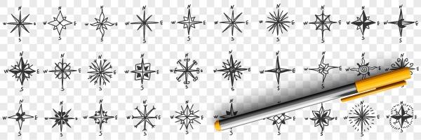 cardinal points on compass doodle set